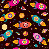 Cute animals in spaceships kids pattern Stock Photos