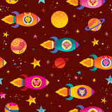 Cute animals in spaceships kids space seamless pattern Royalty Free Stock Photography