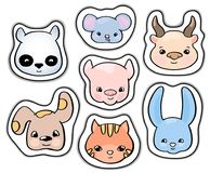 Cute animals stickers. Smiling animal vector clipart. Handdrawn domestic animals cat and dog isolated. Colorful icons for child birthday. Wild animal rabbit royalty free illustration