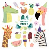 Cute animals tropical party stock illustration
