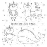 Cute animals unicorns coloring pages. Hand drawn black and white vector illustration of cute whale, cat, panda, and owl as unicorns flying among the stars Stock Photos