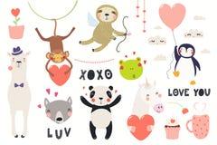 Cute animals Valentines day set royalty free illustration