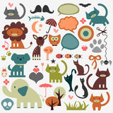 Cute animals and various elements royalty free illustration
