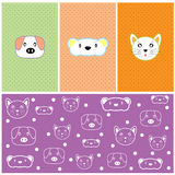 Cute animals vector background Stock Image