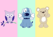 Cute animals. Vector illustration of 3 animals Royalty Free Stock Photos