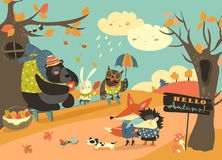 Cute animals walking in autumn forest vector illustration