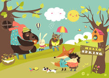 Cute animals walking in spring forest vector illustration