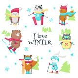 Cute animals skiing in winter vector isolated illustration stock illustration