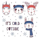 Cute animals in warm hats. Set of hand drawn cute funny portraits of panda, rabbit, deer, unicorn in different warm hats, text It`s cold outside. Isolated Stock Image