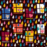 Cute animals watching rain pattern Stock Images