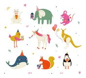 Cute Animals Wearing Party Hats with Birthday Cakes and Gift Boxes Set, Cute Cat, Elephant, Mouse, Chicken, Kangaroo vector illustration