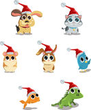 Cute animals wearing Santa hat. A vector illustration of cute animals wearing Santa hat