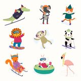 Cute animals winter activities set royalty free illustration