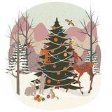 Cute animals in the winter forest vector illustration