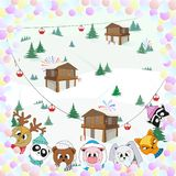 Cute animals, winter landscape, Christmas color illustration stock illustration