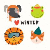 Cute animals winter set royalty free illustration