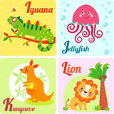 4 cute animals. Cute zoo alphabet in vector. I, j, k, l letters. Funny animals for ABC book. Jellyfish, iguana, kangaroo, lion Stock Photos