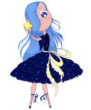 Cute anime ballerina with blue hair in tutu holding in her hands star. Royalty Free Stock Photo