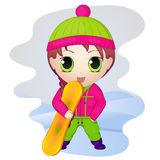 Cute anime chibi little girl with snowboard. Simple cartoon style. Vector illustration. NY Collection. Royalty Free Stock Photos