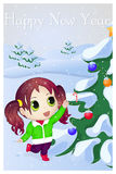 Cute anime chibi little girl trying to take candy. Merry Christmas and Happy New year card. Christmas card in cartoon Stock Photo