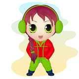 Cute anime chibi little girl wearing earmuffs. Simple cartoon style. Vector illustration. NY Collection. Stock Photo
