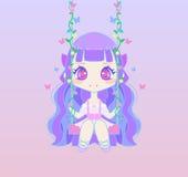 Cute anime fairy girl on swing Royalty Free Stock Image