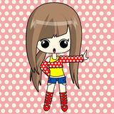 Cute anime girl in funky set. The fashionable anime girl with long brown hair Royalty Free Stock Photography