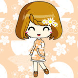 Cute anime girl in pattern dress. The feminime anime girl with cute light dress Stock Photos