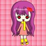 Cute anime girl in red coat Stock Photo