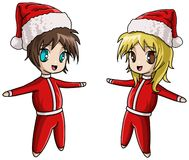 Cute Anime Santa girl and boy Royalty Free Stock Image