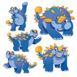 Cute ankylosaurus. Cute blue ankylosaurus cartoon many actions Stock Photos