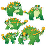 Cute ankylosaurus. Cute green ankylosaurus cartoon many actions Stock Photography