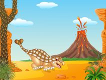 Cute ankylosaurus in the prehistoric background Royalty Free Stock Image