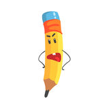 Cute annoyed cartoon yellow pencil character with hands on waist, humanized funny pencil vector Illustration. On a white background stock illustration