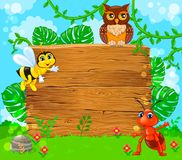 Cute ant bee and owl near empty wooden banner. Vector illustration royalty free illustration
