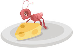 cute ant carrying cheese Stock Image