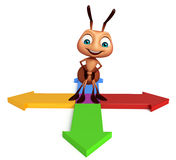 Cute  Ant cartoon character with arrow sign. 3d rendered illustration of Ant cartoon character with arrow sign Royalty Free Stock Images