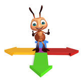 Cute  Ant cartoon character with arrow sign. 3d rendered illustration of Ant cartoon character with arrow sign Royalty Free Stock Image
