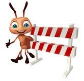 cute  Ant cartoon character with baracades Stock Photos