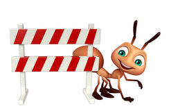 cute  Ant cartoon character with baracades Royalty Free Stock Images