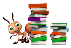 Cute Ant cartoon character with book stack. 3d rendered illustration of Ant cartoon character with book stack Stock Photography