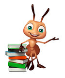 Cute Ant cartoon character with book stack. 3d rendered illustration of Ant cartoon character with book stack Royalty Free Stock Images
