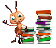 Cute Ant cartoon character with book stack. 3d rendered illustration of Ant cartoon character with book stack Stock Images