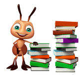 Cute Ant cartoon character with book stack. 3d rendered illustration of Ant cartoon character with book stack Royalty Free Stock Photography