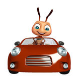 cute  Ant cartoon character with car Royalty Free Stock Images