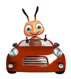 Cute  Ant cartoon character with car Stock Photography