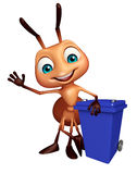 cute Ant cartoon character with dusbin Stock Image