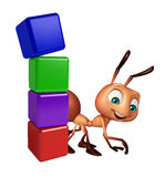 Cute Ant cartoon character with level sign. 3d rendered illustration of Ant cartoon character with level sign Royalty Free Stock Photos
