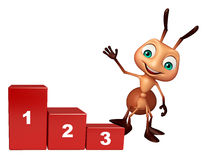 Cute Ant cartoon character with level sign. 3d rendered illustration of Ant cartoon character with level sign Stock Photography
