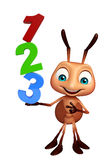 Cute Ant cartoon character with 123 sign. 3d rendered illustration of Ant cartoon character with 123 sign Stock Photography